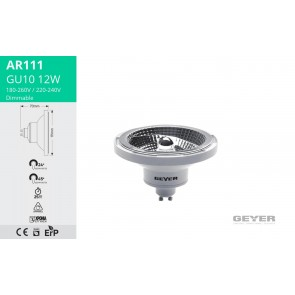 Λάμπα LED AR111 GU10 12W Geyer L111-GU10-24W