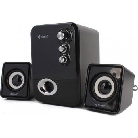 KISONLI Multimedia ηχεία U-2100, 2.1ch, 5W & 2x 3W, USB, μαύρο KSN-U-2100-BK