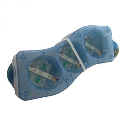 Πολύπριζο Κύμα 3 θέσεων Satiplugs Μπλε