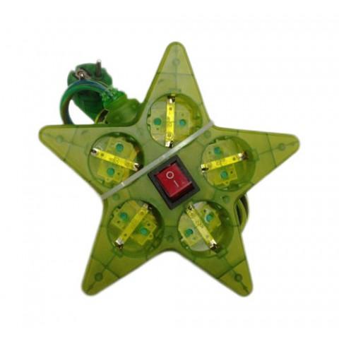 Πολύπριζο με Διακόπτη Αστέρι Satiplugs Πράσινο